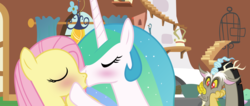 Size: 7999x3393 | Tagged: and then discord was a man, artist:wissle, cute, discord, discute, eyes closed, female, flutterlestia, fluttershy, fluttershy's cottage, happy, kissing, lesbian, lesbian in front of boys, princess celestia, safe, shipping, squee, watching