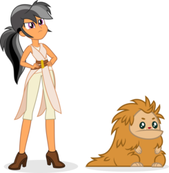 Size: 5719x5841 | Tagged: artist:punzil504, chestnut magnifico, chewbacca, clothes, daring do, duo, equestria girls, female, hands on hip, high heels, pukwudgie, rey, safe, shoes, simple background, star wars, transparent background