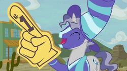 Size: 1920x1080 | Tagged: appleloosa, cheering, clothes, common ground, earth pony, eyes closed, face paint, foam finger, hat, male, pony, safe, scarf, screencap, shirt, solo, spoiler:s09e06, sports, stallion, star bright, unicorn