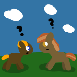 Size: 1000x1000 | Tagged: button mash, cloud, grass, mistaken identity, oc, oc:lil-k, pony, question mark, safe, similarities, sky