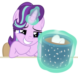 Size: 7700x7700 | Tagged: artist:igokapichka, chair, chocolate, cup, empathy cocoa, female, food, hot chocolate, levitation, magic, mare, marks for effort, marshmallow, pony, safe, simple background, sitting, smiling, smirk, solo, starlight glimmer, telekinesis, transparent background, unicorn, vector