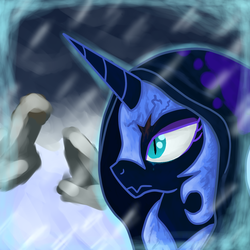Size: 1600x1600   Tagged: safe, artist:crusader productions, nightmare moon, spirit of hearth's warming yet to come, pony, blood, crying, hood, ruins, snow, snowfall, thumbnail
