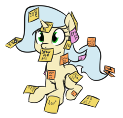 Size: 1366x1310 | Tagged: artist:wenni, colored sketch, female, oc, oc only, oc:posty, pony, safe, simple background, sitting, solo, sticky note, unicorn, white background
