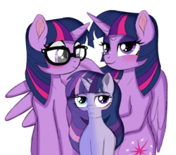 Size: 1199x1057 | Tagged: safe, artist:unoriginai, sci-twi, twilight sparkle, oc, oc:twilight zone, alicorn, bicorn, unicorn, equestria girls, cloning, equestria girls ponified, family, female, goddamnit unoriginai, heterochromia, hug, lesbian, magical lesbian spawn, offspring, parent:sci-twi, parent:twilight sparkle, parents:selfcest, parents:twitwi, product of incest, product of selfcest, self ponidox, selfcest, shipping, twilight sparkle (alicorn), twitwi, twolight, unicorn sci-twi, winghug