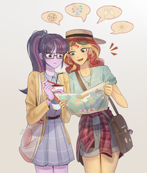 Size: 1680x1978 | Tagged: artist:tcn1205, coke, drink, equestria girls, female, hat, lesbian, map, safe, sci-twi, scitwishimmer, shipping, soda, sunset shimmer, sunsetsparkle, tourist, twilight sparkle