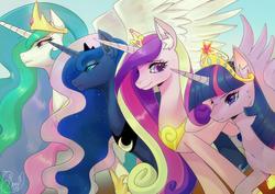 Size: 1280x905   Tagged: safe, artist:renciel, princess cadance, princess celestia, princess luna, twilight sparkle, alicorn, pony, alicorn tetrarchy, big crown thingy, crown, female, jewelry, mare, regalia, royal sisters, twilight sparkle (alicorn)