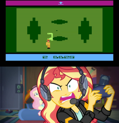 Size: 1920x1995 | Tagged: safe, edit, edited screencap, screencap, fluttershy, sunset shimmer, equestria girls, equestria girls series, game stream, spoiler:eqg series (season 2), atari, atari 2600, e.t., e.t. the extra-terrestrial, e.t. the video game, sunset gamer, sunset shimmer frustrated at game