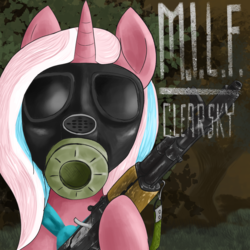 Size: 1200x1200 | Tagged: safe, artist:t72b, derpibooru exclusive, clear sky, pony, unicorn, common ground, ak74, bipedal, bust, female, gas mask, gun, hoof hold, mare, mask, milf, parody, portrait, rifle, s.t.a.l.k.e.r., solo, text, weapon
