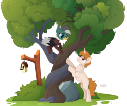Size: 3190x2655 | Tagged: artist needed, base used, duck, duck pony, help, oc, oc:duk, oc:white shield, pegasus, pony, safe, stuck, tree, unicorn