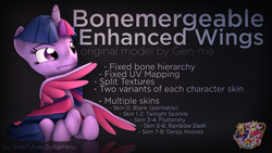 Size: 3840x2160 | Tagged: safe, artist:gen-ma, artist:imafutureguitarhero, twilight sparkle, alicorn, pony, 3d, 3d model, colored eyebrows, colored wings, download, download at source, downloadable, female, high res, horn, mare, nose wrinkle, raised eyebrow, reflection, sitting, solo, source filmmaker, text, thinking, twilight sparkle (alicorn), wings