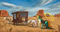 Size: 2242x1194 | Tagged: source needed, safe, artist:grievousfan, oc, oc only, oc:deady, oc:dust runner, pony, arrested, female, gun, male, mare, plot, shackles, stallion, wagon, weapon, wild west
