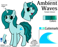 Size: 1280x1024 | Tagged: safe, artist:kaylamod, oc, oc only, oc:ambient waves, pony, unicorn, kitsune, multiple tails, multitail, reference sheet, simple background, solo, white background