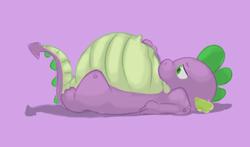 Size: 342x201   Tagged: safe, artist:da~blueguy, spike, belly, fat, fat spike, lowres