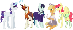 Size: 1936x808 | Tagged: applejack, applejack gets all the mares, applerise, artist:cat-tastrophy, autumberry colorarijack, autumn blaze, autumnjack, choker, clothes, coloratura, commission, cowboy hat, dress, earth pony, female, flower, flower in hair, freckles, gloves, glowing horn, hat, interspecies, jewelry, kirin, lesbian, levitation, magic, mare, necklace, open mouth, pegasus, plaid skirt, polo shirt, polyamory, poncho, pony, raised hoof, rarajack, rarijack, rarity, safe, shipping, shorts, simple background, sitting, skirt, socks, strawberry sunrise, tanktop, telekinesis, transparent background, unicorn, wall of tags