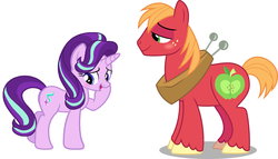 Size: 1184x675   Tagged: safe, edit, vector edit, big macintosh, starlight glimmer, pony, blushing, crack shipping, female, flirting, glimmermac, male, shipping, simple background, straight, transparent background, vector