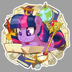 Size: 1440x1440 | Tagged: safe, artist:batonya12561, part of a set, twilight sparkle, alicorn, pony, book, chibi, clipboard, clock, cute, globe, inkwell, paper, pencil, quill, reading, scepter, scroll, twiabetes, twilight scepter, twilight sparkle (alicorn)