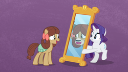 Size: 1600x900 | Tagged: safe, screencap, rarity, yona, earth pony, pony, unicorn, yak, she's all yak, bow, duo, female, hair bow, mare, mirror, ponified, pony yona, purple background, simple background, smiling, species swap
