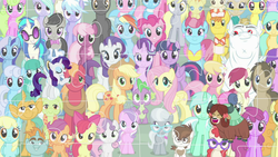 Size: 1920x1080 | Tagged: alicorn, aloe, amethyst star, apple bloom, applejack, berry punch, berryshine, big macintosh, bon bon, bulk biceps, carrot cake, carrot top, cheerilee, cloudchaser, cup cake, daisy, derpy hooves, diamond tiara, dj pon-3, doctor whooves, everypony at s5's finale, fit right in, flitter, flower wishes, fluttershy, golden harvest, granny smith, lemon hearts, lily, lily valley, linky, lotus blossom, lyra heartstrings, mayor mare, minuette, octavia melody, pinkie pie, pipsqueak, pound cake, pumpkin cake, puzzle, rainbow dash, rarity, roseluck, safe, sassaflash, scootaloo, screencap, she's all yak, shoeshine, silver spoon, snails, snips, sparkler, spike, spoiler:s09e07, spring melody, sprinkle medley, starlight glimmer, sunshower raindrops, sweetie belle, sweetie drops, the cutie re-mark, thunderlane, time turner, twilight sparkle, twilight sparkle (alicorn), twist, vinyl scratch, yona