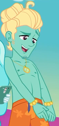 Size: 507x1080 | Tagged: safe, screencap, paisley, zephyr breeze, equestria girls, equestria girls series, i'm on a yacht, spoiler:eqg series (season 2), clothes, cropped, male, offscreen character, partial nudity, shorts, smiling, swimming trunks, topless, zephyr's necklace