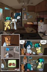 Size: 1080x1649 | Tagged: artist:alittleofsomething, artist:shinodage, boop o' roops, bottle, box, cabinet, cereal, clock, clothes, comic, comic:delta vee's junkyard, cup, delta vee's junkyard, dialogue, door, female, filly, floppy ears, food, freckles, loss (meme), mare, milk, mother and daughter, oc, oc:apogee, oc:delta vee, oc only, photo, pizza, pony, poster, potato pony, safe, speech bubble, tanktop, television, tinyface