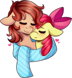 Size: 1580x1721 | Tagged: apple bloom, artist:grapegrass, canon x oc, clothes, commission, earth pony, eyes closed, female, heart, male, mare, oc, oc:cottonwood kindle, pony, safe, scarf, shared clothing, shared scarf, simple background, snuggling, stallion, transparent background, ych result