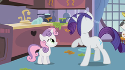 Size: 500x281 | Tagged: safe, screencap, hondo flanks, rarity, sweetie belle, pony, unicorn, sisterhooves social, animation error, cabinet, curtains, female, filly, foal, frying pan, great moments in animation, heart, kitchen, male, mare, mess, no face, oven, plate, pot, raised hoof, sink, stallion, wat, what is anatomy, window