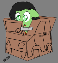 Size: 3960x4266 | Tagged: artist:prncsk, cardboard box, cute, earth pony, female, filly, gray background, marker, marker drawing, oc, ocbetes, oc:filly anon, oc only, pony, safe, simple background, smiling, tape, tongue out, traditional art