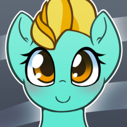 Size: 1000x1000 | Tagged: abstract background, artist:puetsua, avatar, blushing, bust, cute, dustabetes, female, lightning dust, mare, pegasus, pony, portrait, safe, smiling
