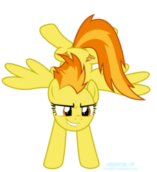 Size: 9000x9884 | Tagged: artist:kuren247, determination, female, handstand, mare, pegasus, pony, safe, simple background, solo, spitfire, sweat, transparent background, upside down, vector, wings, wonderbolts, workout