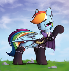 Size: 2000x2040 | Tagged: safe, artist:hitbass, part of a set, rainbow dash, pegasus, pony, cape, clothes, fantasy class, female, looking at you, mare, one eye closed, pocket, rapier, solo, sword, weapon, wink