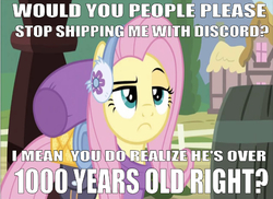 Size: 670x489 | Tagged: safe, edit, edited screencap, editor:undeadponysoldier, screencap, fluttershy, pegasus, pony, dungeons and discords, barrel, downvote bait, earmuffs, female, hate, implied discord, implied discoshy, implied shipping, implied straight, mare, mouthpiece, op is a duck, op is trying to start shit, op started shit, ponyville, question mark, raised eyebrow, shipping denied, solo, talking to viewer, unamused, wrong aspect ratio