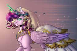 Size: 1500x1000 | Tagged: a canterlot wedding, alicorn, artist:mlp-norica, chest fluff, clothes, disguise, disguised changeling, dress, fake cadance, female, floral head wreath, flower, glowing eyes, glowing horn, mare, pony, princess cadance, profile, queen chrysalis, safe, slit eyes, slit pupils, smiling, smirk, solo, speedpaint available, wedding dress