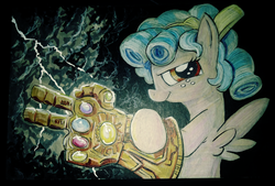 Size: 3984x2696 | Tagged: safe, artist:lytlethelemur, cozy glow, pegasus, pony, avengers, avengers: endgame, avengers: infinity war, infinity gauntlet, xk-class end-of-the-universe scenario, xk-class end-of-the-world scenario