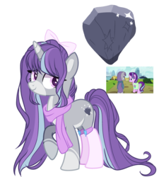 Size: 2700x3000 | Tagged: safe, artist:gihhbloonde, maud pie, starlight glimmer, oc, pony, unicorn, bow, clothes, cutie mark, female, hair bow, lesbian, magical lesbian spawn, mare, offspring, parent:maud pie, parent:starlight glimmer, parents:starmaud, pink socks, scarf, shipping, simple background, socks, socks (coat marking), starmaud, transparent background