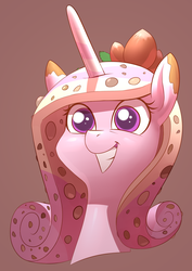 Size: 2480x3508   Tagged: safe, artist:underpable, princess cadance, candy pony, food pony, original species, pony, candy, female, food, grin, nougat, nuts, ponified, smiling