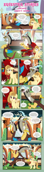 Size: 1919x7345   Tagged: safe, artist:estories, discord, oc, oc:alice goldenfeather, draconequus, pegasus, pony, comic:find yourself, comic, couch, dialogue, discord being discord, facehoof, female, food, friendship express, male, mare, popcorn, self paradox, sigh, train