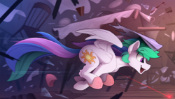 Size: 2450x1390 | Tagged: safe, artist:yakovlev-vad, princess celestia, alicorn, cat, pony, behaving like a cat, broken glass, catlestia, chase, chest fluff, clothes, cute, cutelestia, destruction, ear fluff, eye clipping through hair, eyes on the prize, female, fluffy, flying, gotta go fast, hoof fluff, horn impalement, laser, laser pointer, leg fluff, majestic as fuck, mare, missing accessory, neck fluff, open mouth, profile, property damage, running, shoulder fluff, sidemouth, sillestia, silly, slippers, smiling, solo, spread wings, sweet dreams fuel, table, wing fluff, wings