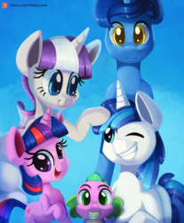 Size: 2000x2416 | Tagged: artist:discorded, baby, baby spike, blue background, bust, family, female, filly, filly twilight sparkle, male, night light, patreon, patreon logo, pony, portrait, safe, shining armor, simple background, sparkle family, spike, spoiler:s09e05, stallion, teenage shining armor, the point of no return, twilight sparkle, twilight velvet, unicorn, unicorn twilight, younger
