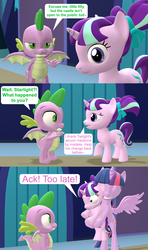 Size: 1920x3240 | Tagged: 3d, age regression, ail-icorn, alicorn, artist:red4567, comic, dragon, female, filly, filly starlight, hug, safe, source filmmaker, spike, spoiler:interseason shorts, starlight glimmer, twilight sparkle, twilight sparkle (alicorn), winged spike, younger