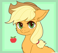 Size: 1280x1171 | Tagged: apple, applejack, artist:raevaiifox, back fluff, cheek fluff, chest fluff, cowboy hat, cute, ear fluff, earth pony, eyebrows visible through hair, female, food, green background, hat, jackabetes, looking at you, mare, obligatory apple, pony, safe, simple background, solo