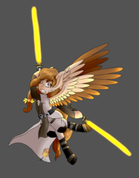 Size: 1970x2512 | Tagged: artist:midnightfire1222, crossover, jedi, lightsaber, oc, oc:autumn wind, pegasus, pony, safe, solo, star wars, weapon