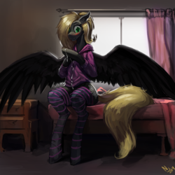 Size: 2000x2000 | Tagged: adorkable, arm hooves, artist:nsilverdraws, bed, blonde, blushing, clothes, cute, detailed background, dork, drawer, female, flustered, hoodie, horse, mare, oc, oc only, oc:veen sundown, pegasus, pony, safe, socks, solo, spread wings, stockings, striped socks, thigh highs, wings
