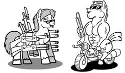 Size: 3076x1781   Tagged: safe, artist:wangkingfun, bulk biceps, oc, oc:black eightball, pony, black and white, grayscale, gun, lineart, monochrome, motorcycle, pony icon, shotgun, simple background, terminator, weapon, white background