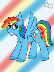 Size: 960x1280 | Tagged: abstract background, artist:emz2015, artist:php62, chest fluff, explicit source, eye clipping through hair, female, floppy ears, grin, mare, part of a set, pegasus, pony, rainbow dash, safe, smiling, solo, spread wings, wings