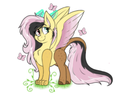 Size: 1024x768 | Tagged: artist:emz2015, butterfly, draconequus, draconequus oc, explicit source, female, glowing horn, hybrid, interspecies offspring, oc, oc only, oc:sweet disarray, offspring, parent:discord, parent:fluttershy, parents:discoshy, safe, simple background, smiling, solo, spread wings, transparent background, wings