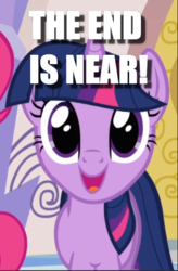 Size: 391x596   Tagged: safe, edit, edited screencap, screencap, twilight sparkle, games ponies play, caption, cropped, dissonant caption, end of ponies, image macro, irrational exuberance, smiling, solo focus, text