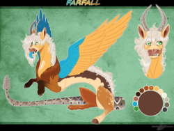 Size: 1350x1014 | Tagged: artist:bijutsuyoukai, draconequus, draconequus oc, hybrid, interspecies offspring, male, oc, oc:farfall, offspring, parent:applejack, parent:discord, parents:applecord, reference sheet, safe, solo