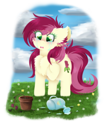 Size: 810x945 | Tagged: artist:vanillaswirl6, background pony, chest fluff, cloud, crying, d:, dandelion, dead flowers, ear fluff, flower, grass, heartbreak, heart eyes, leaves, open mouth, photoshop, pony, potted plant, raised hoof, rose, roseluck, sad, safe, solo, water, watering can, wingding eyes
