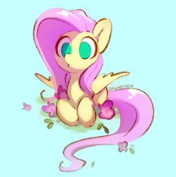 Size: 995x998 | Tagged: safe, artist:dawnfire, fluttershy, pegasus, pony, blue background, cute, empty eyes, female, flower, mare, no catchlights, no pupils, prone, shyabetes, simple background, solo