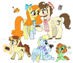 Size: 1589x1359 | Tagged: apron, artist:unoriginai, backstory in description, blind, braces, caketwincest, chalk, chalkboard, clothes, colt, cute, deaf, female, filly, goddamnit unoriginai, inbred, inbreeding, incest, magic aura, male, mute, oc, oc:angel cake, oc:coffee cake, oc:keylime pie cake, offspring, older, older pound cake, older pumpkin cake, parent:pound cake, parent:pumpkin cake, parents:caketwincest, parents:caketwins, pound cake, product of incest, pumpkin cake, rubber chicken, safe, scarf, simple background, sketch, straight, text, transparent background